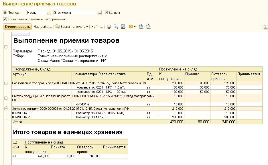 1С ERP отчет выполнения приемки