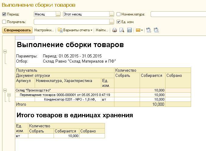 Выполненрие сборки товаров в 1С ERP